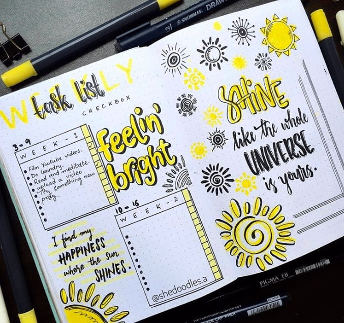 Two Page Weekly Task List in a Bullet Journal with Yellow Bubble Letters