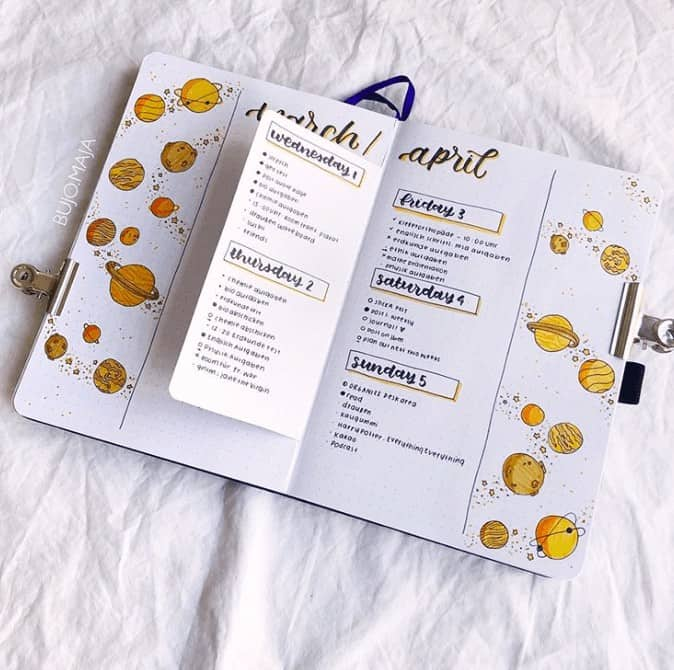 Yellow space themed weekly spread for April with pop out flap