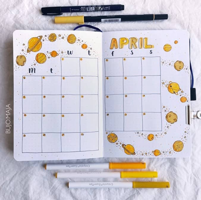 Yellow Space themed Monthly Spread for April in Bullet Journal