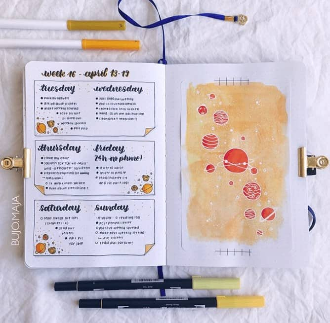 Yellow Space Themed Weekly Spread in Bullet Journal with a Space doodle page taped in
