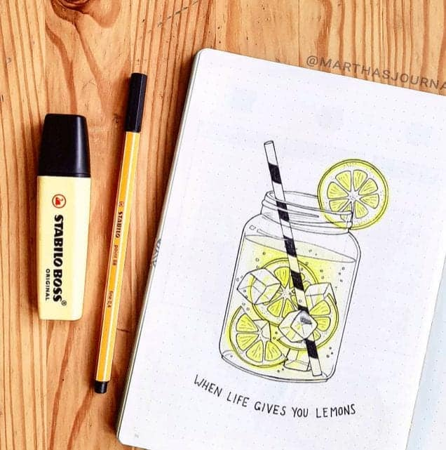 Bullet Journal Cover Page 'When life gives you lemons' with lemonade in a jar