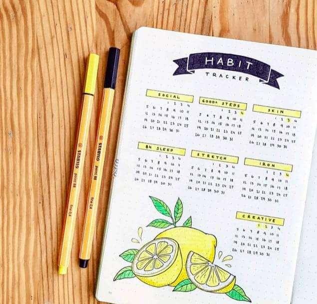 Lemon Themed Habit Tracker in a Bullet Journal with Blue Banner