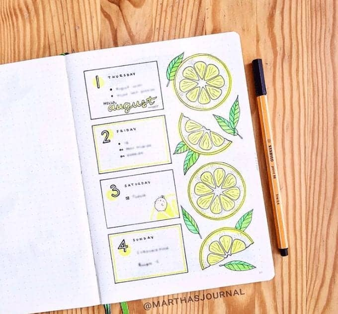 One Page Weekly Spread with Yellow Lemons and leaves in a Bullet Journal