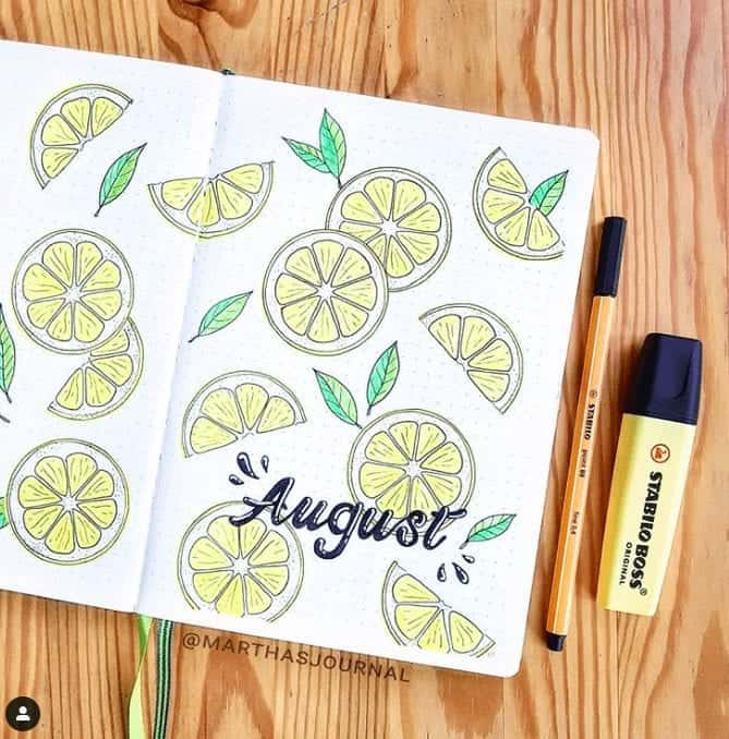 August Bullet Journal Cover page with lemon slices