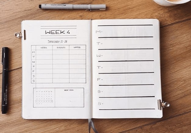 Week 4 Two-Page Bullet Journal Spread Minimalist Style