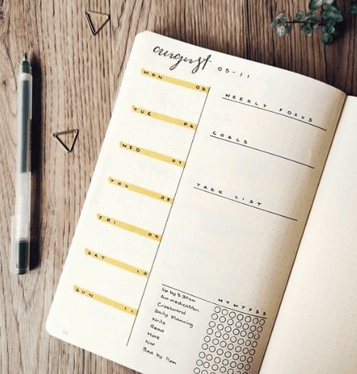 August Weekly Spread with Tracker and Goal Lists. Days of the week are highlighted yellow