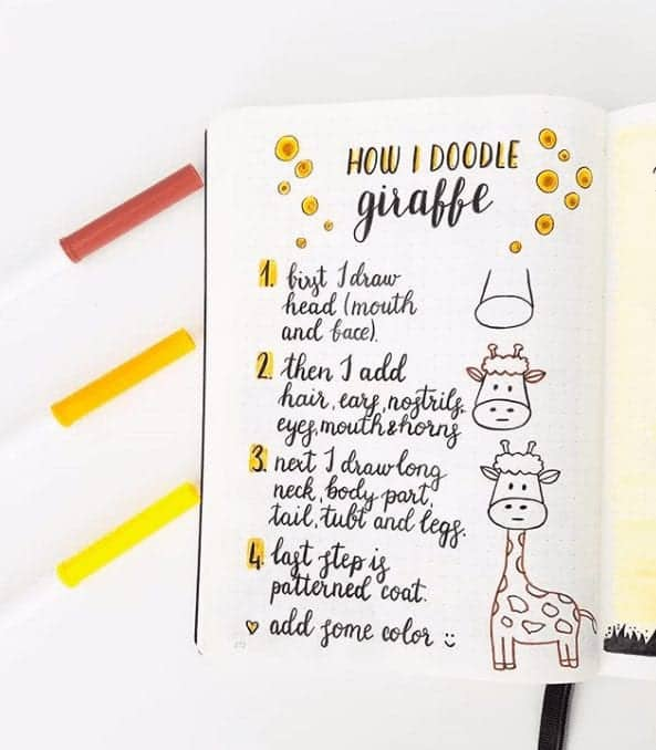easy bullet journal doodles giraffe