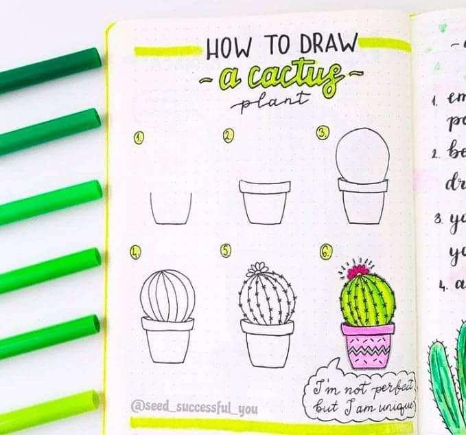 bullet journal doodles plants