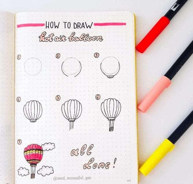 bullet journal doodle inspiration hot air balloon doodle