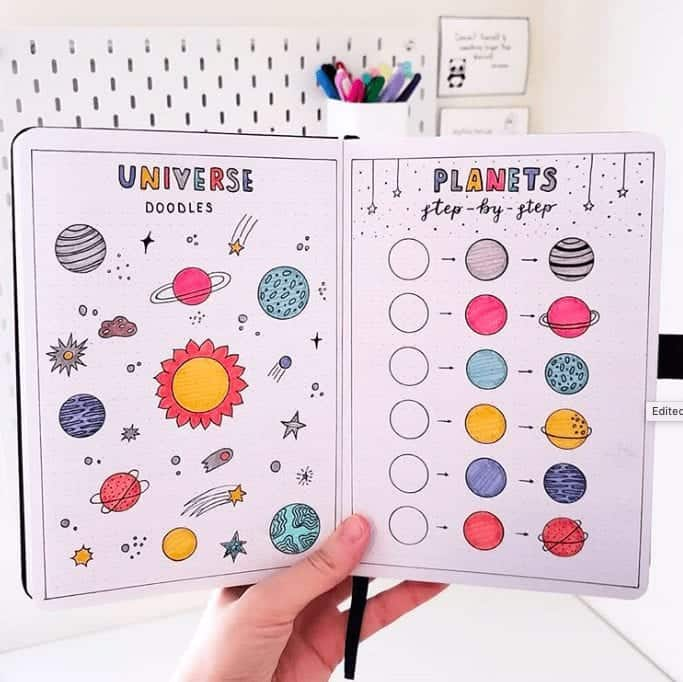 Space and Plant Doodles in Bullet Journal