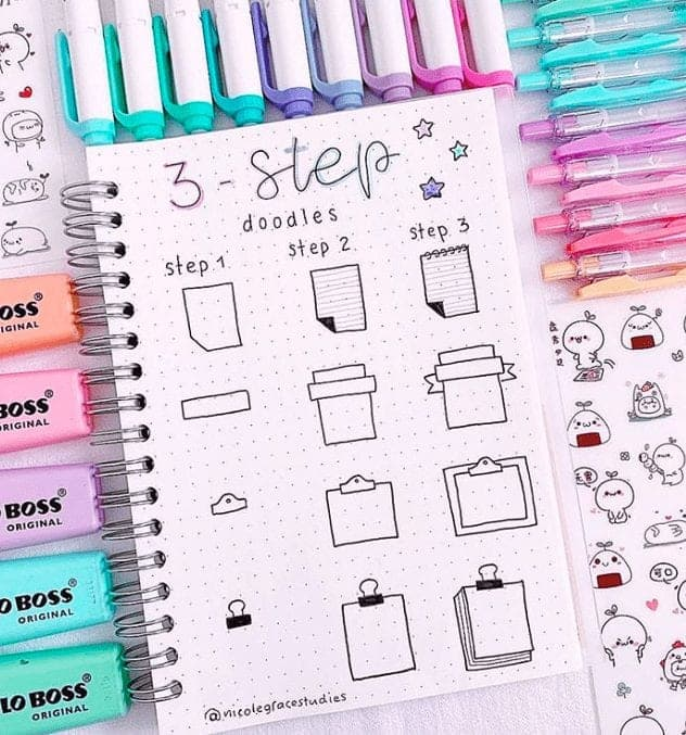 3 step how to draw bullet journal note doodles