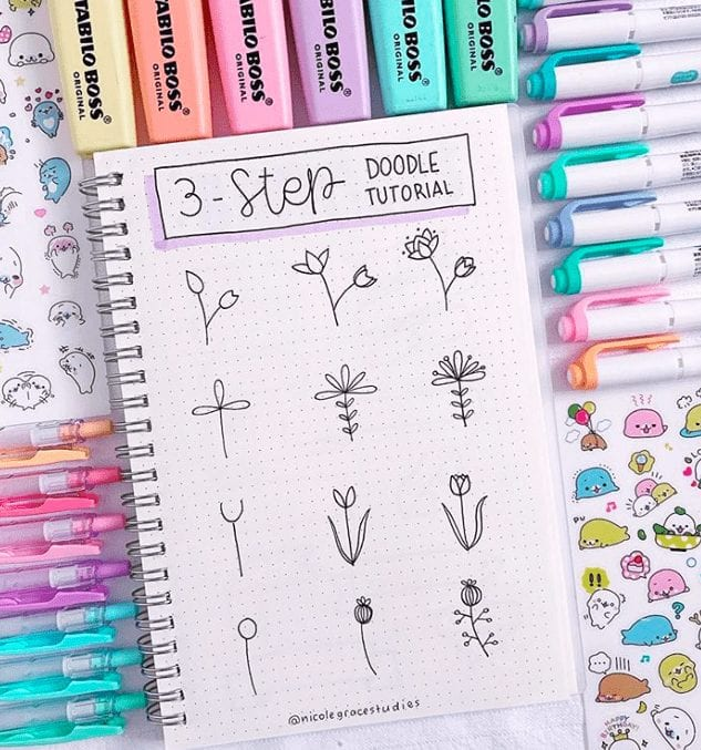 3 step how to draw bullet journal flower doodles