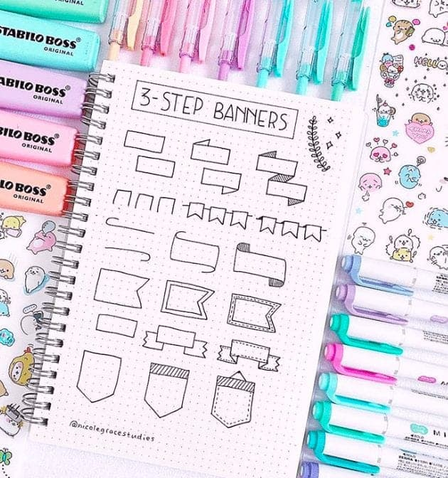 How to draw bullet journal banners