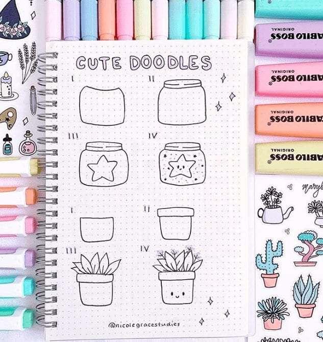Cute Plant Doodles for your Bullet Journal