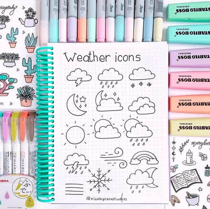 Bullet Journal Doodles weather icons