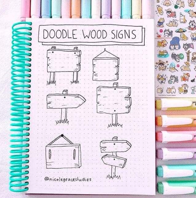 Bullet Journal Doodle Wood Signs