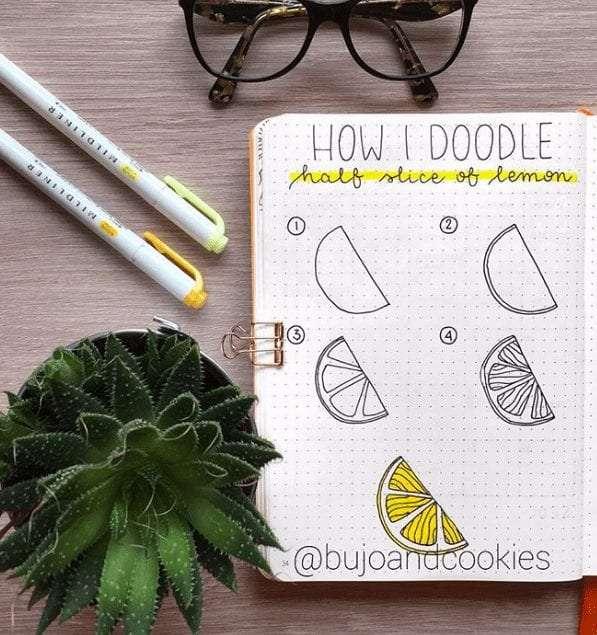 easy bullet journal doodles lemon