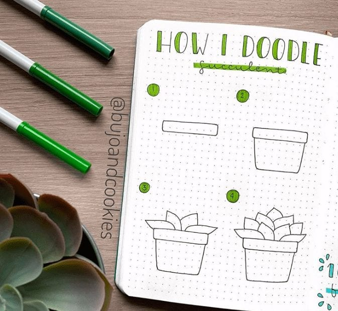 easy bullet journal doodles plants