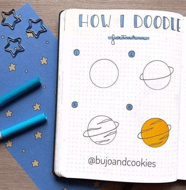 bullet journal doodles space