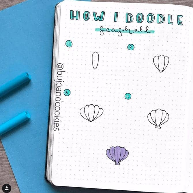 How I doodle seashells in bullet journal doodle page