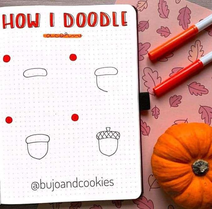 How I doodle an acorn!