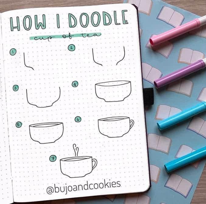fall bullet journal doodles cup of tea