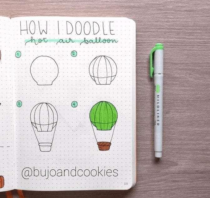 bullet journal doodle inspiration hot air balloons