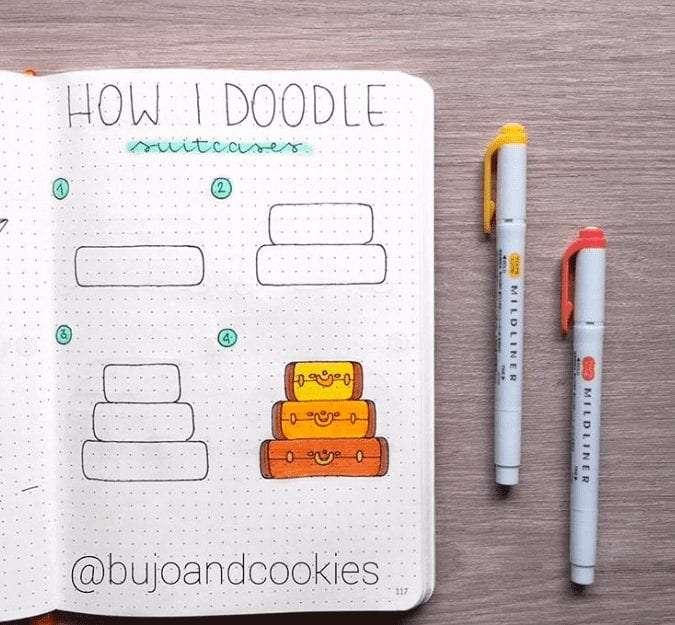 easy bullet journal doodles travel