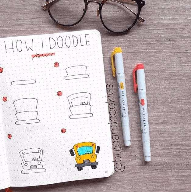 easy bullet journal doodles school