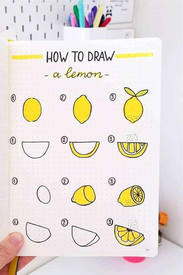 How to draw lemon bullet journal doodles