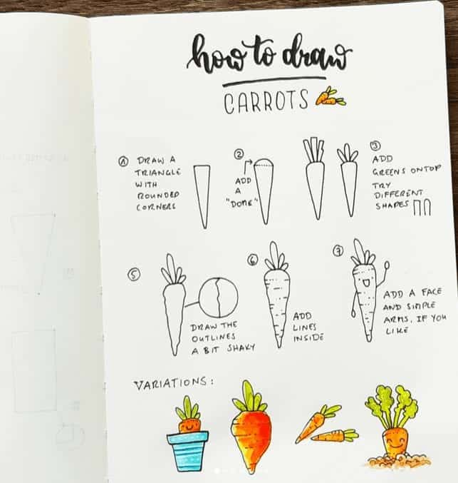 bullet journal easy doodles how to draw carrots