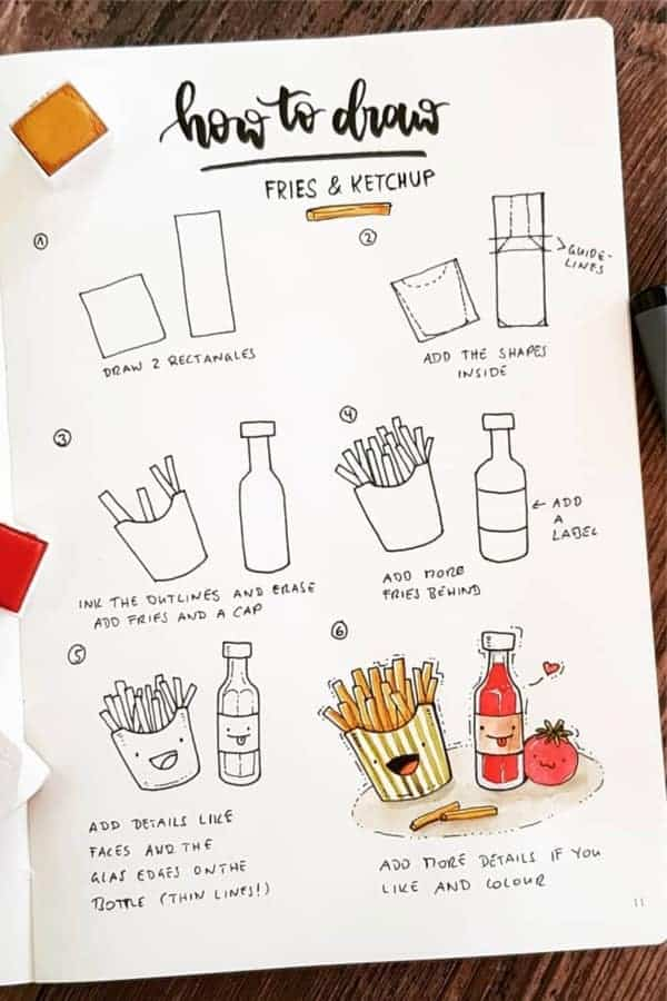how to draw ketchup and fries food bullet journal doodle