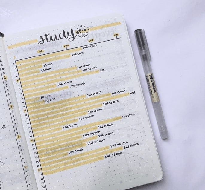 Simple Bullet Journal Study Time Tracker with yellow marker highlighting it