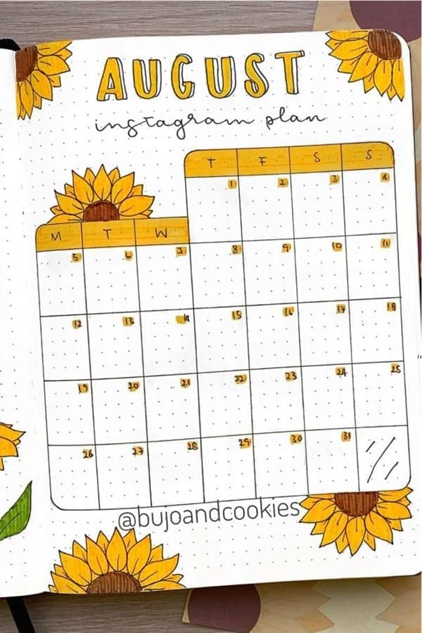 Yellow Sunflower themed social media tracking spread in August
