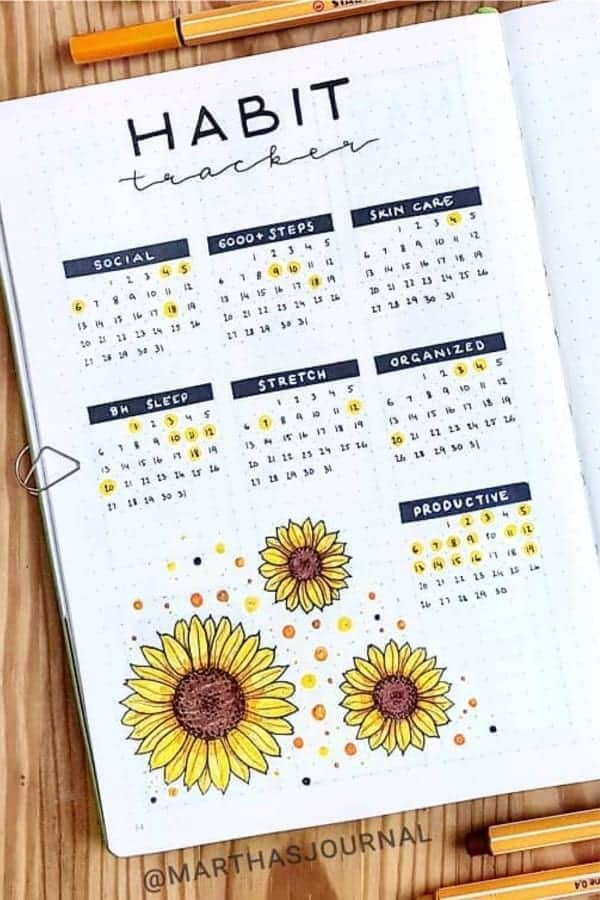 Colorful Yellow and blue Habit Tracker in a Bullet Journal