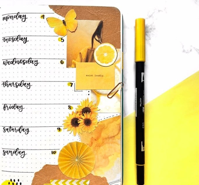 Yellow Sunflower Weekly Spread with Printables attched to it