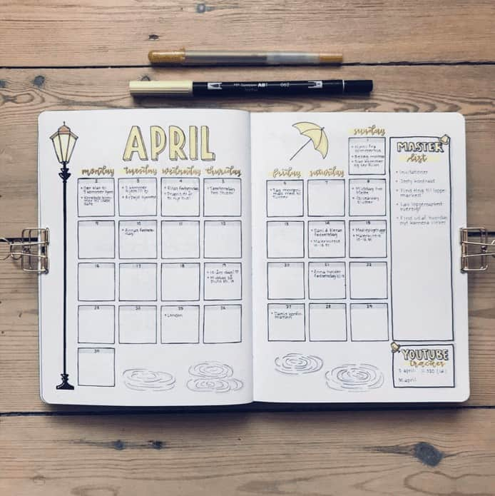 April Monthly Calendar Spread with yellow block letters in a bullet journal