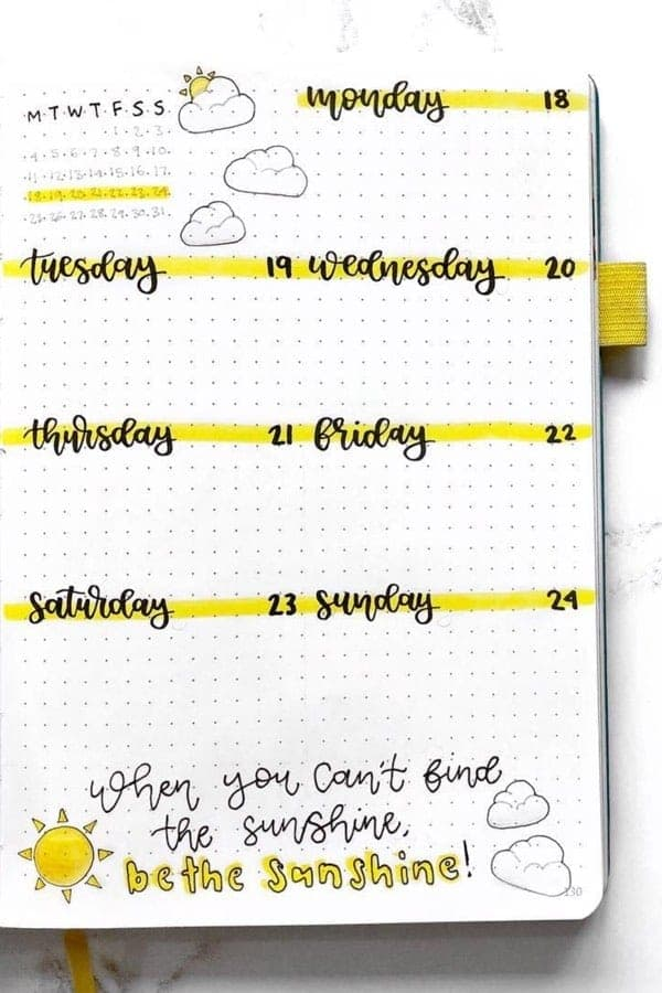 Bullet Journal Weekly Spread with yellow highlighted days of the week and a monthly snap shot.