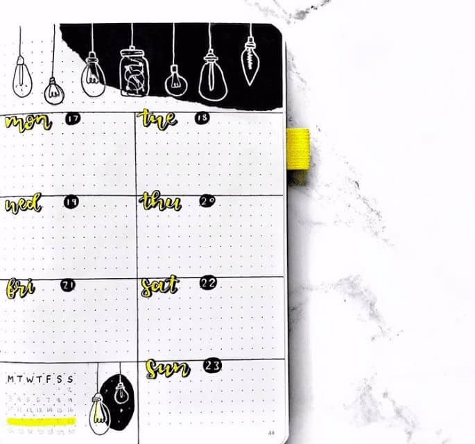 Black and Yellow Light Bulb themed weekly spread in a bullet journal