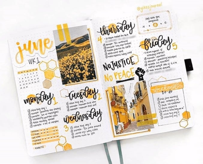 June Yellow themed weekly bullet journal spread using every inch of space