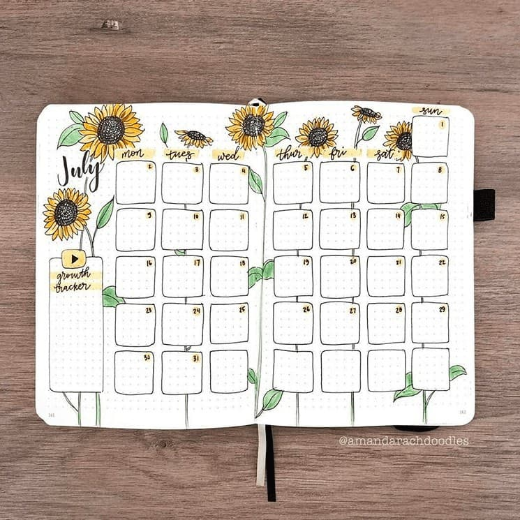 Yellow Sunflower themed monthly spread for July Bullet Journal Spread
