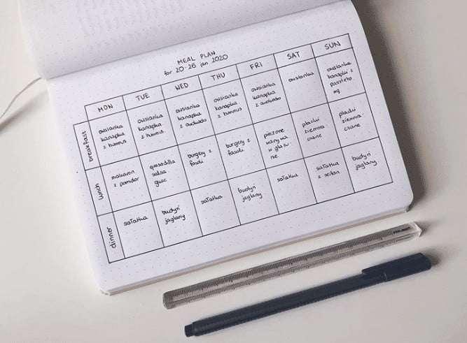 meal plan simple bullet journal
