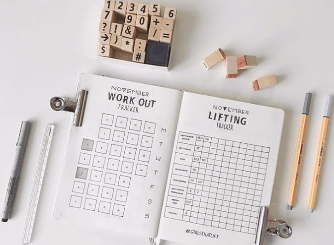 workout tracker for minimal bullet journal