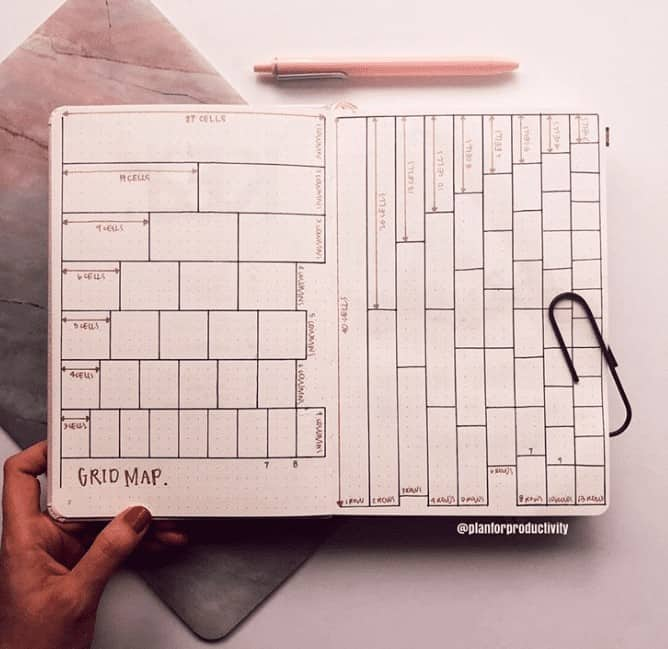 grid cheat sheet minimalist bullet journal
