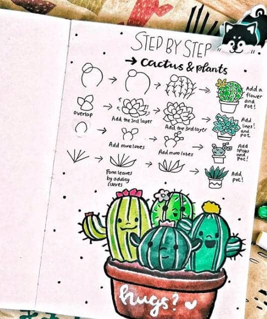 step by step cactus doodle