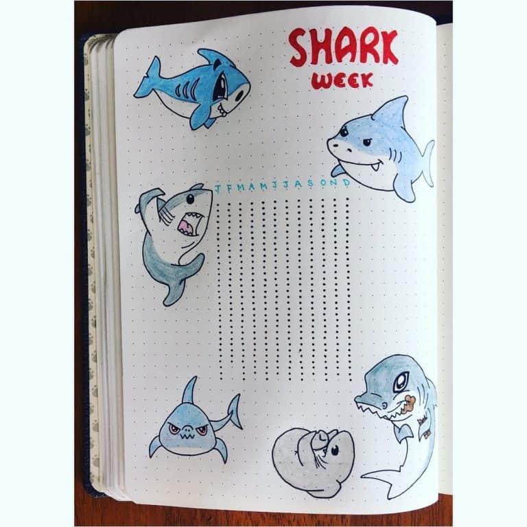 shark week period tracker bullet journal