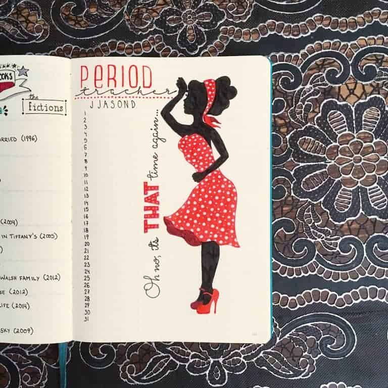 drawing of woman on period tracker bullet journal spread