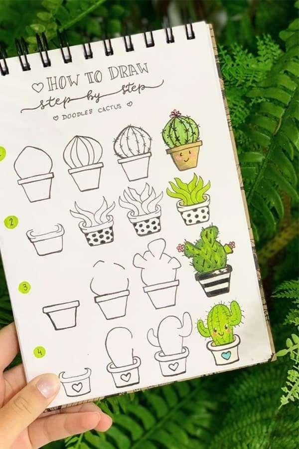 cactus doodle idea in notebook
