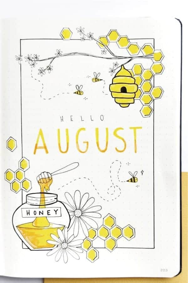 bee cover bullet journal idea