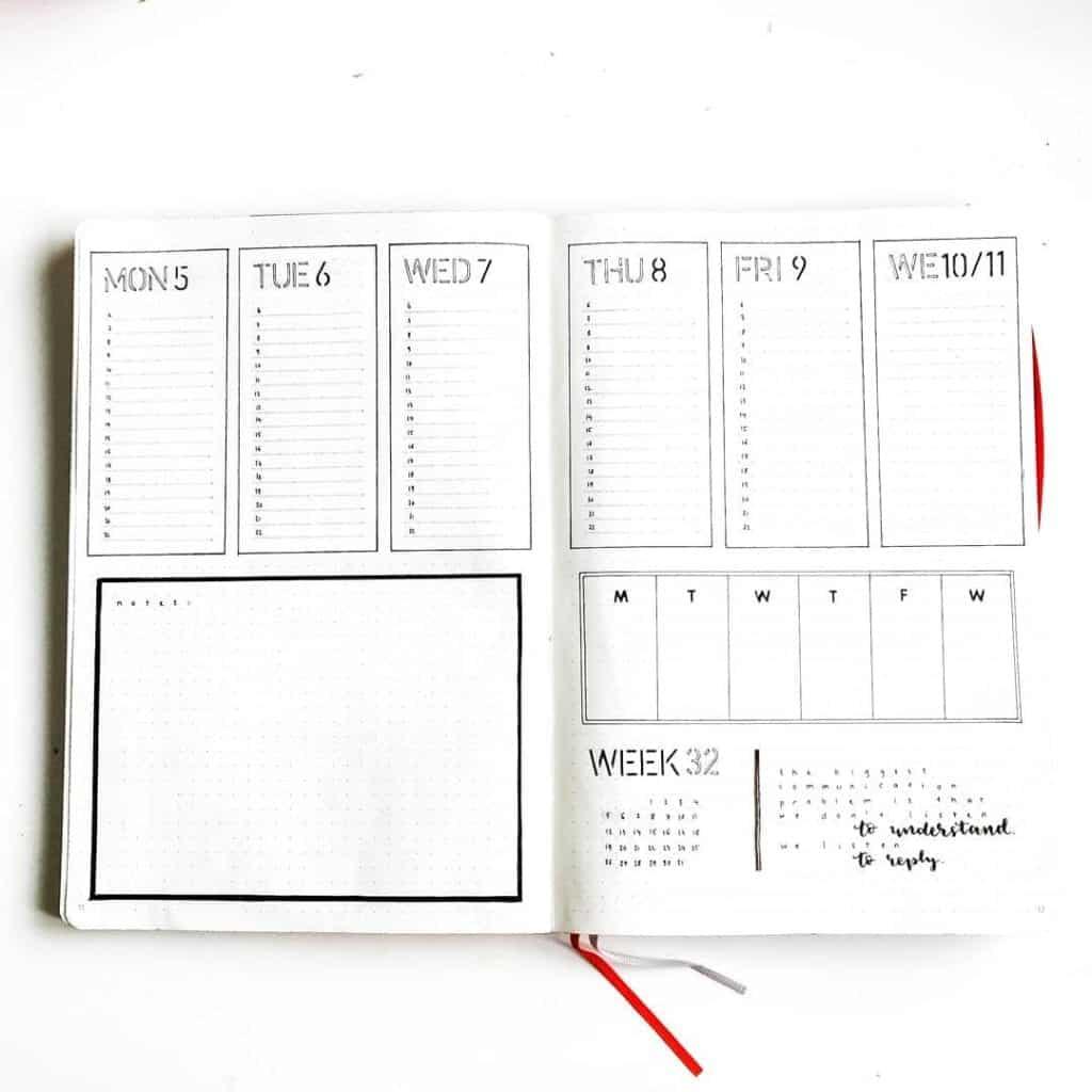 minimalist weekly spread idea